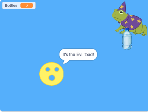 Screenshot of scratch game showing Splotchy the smiley face, a water bottle and the evil toad